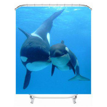 Bath Decor  Sea Dolphin Waterproof Shower Curtain