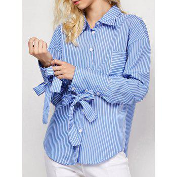 Boyfriend Striped O Ring Back Tie Shirt