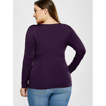 V Neck Plus Size Tee With Lace Insert - DEEP PURPLE DEEP PURPLE