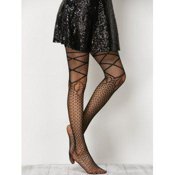 Criss Cross Bow Pattern Fishnet Pantyhose - BLACK ONE SIZE