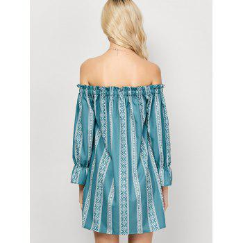 Off The Shoulder Printed Casual Dress - LIGHT GREEN S
