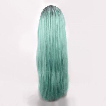 Synthetic Long Middle Part Straight Colormix Cosplay Anime Wig - BLUE/BLACK