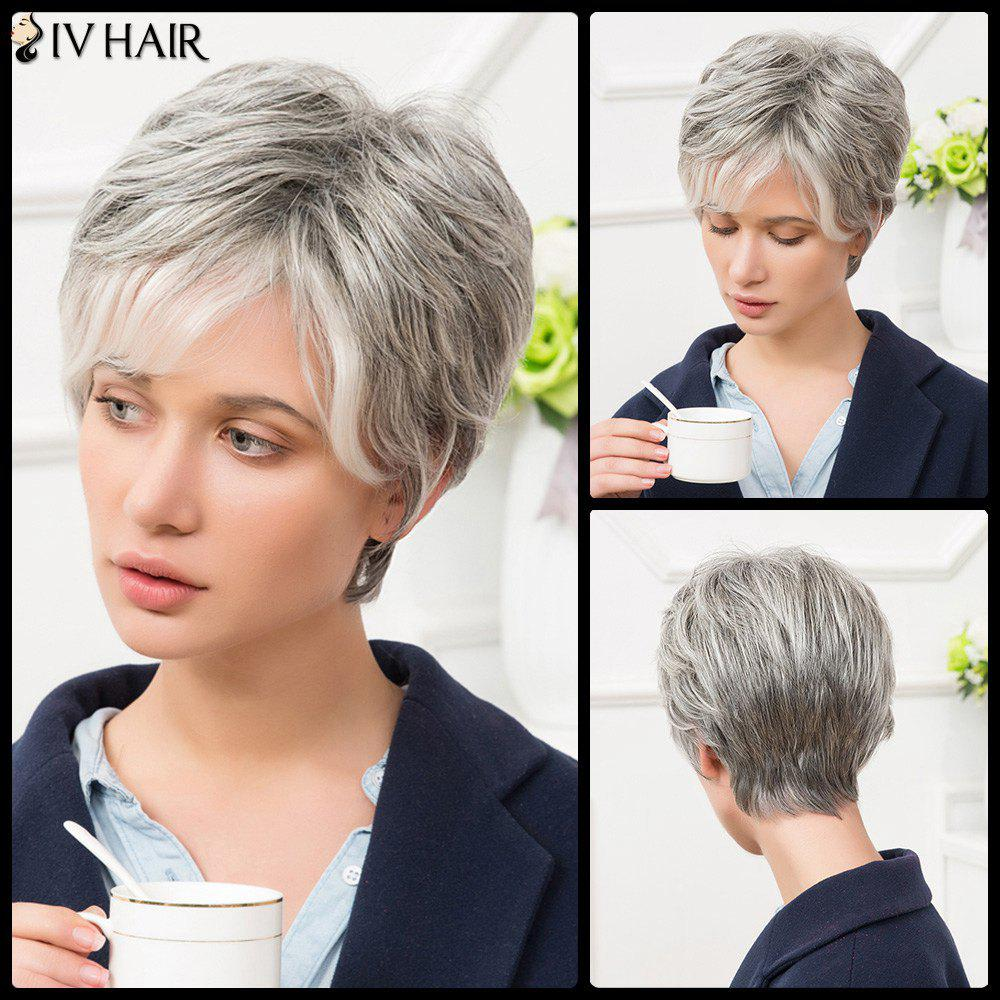 Siv Short Side Bang Shaggy Straight Human Hair Wig - COLORMIX