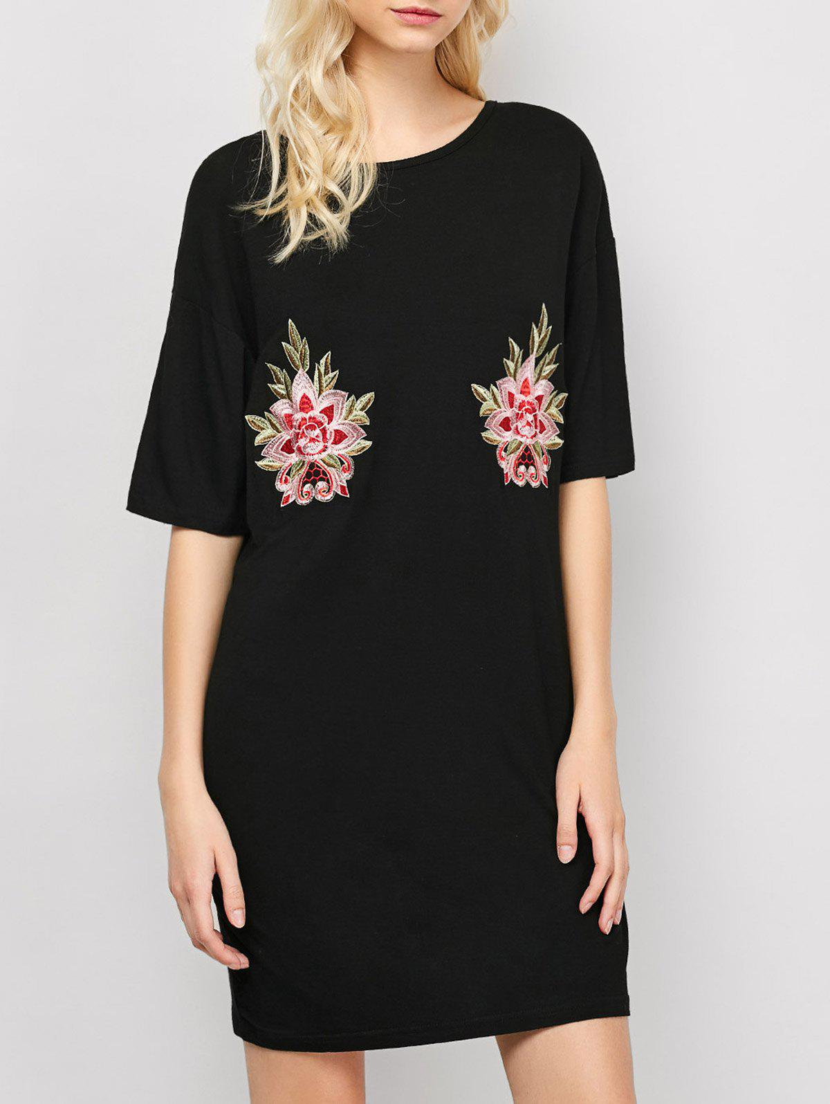 Embroidered Casual Summer T-Shirt Dress - BLACK S