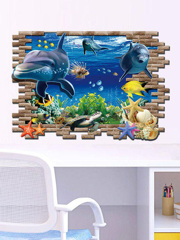 3D Sea World Living Room Removable Wall Stickers 3d sea world living room removable wall stickers