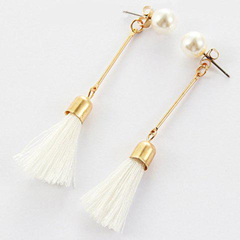 Tassel Faux Pearl Ear Jackets - WHITE