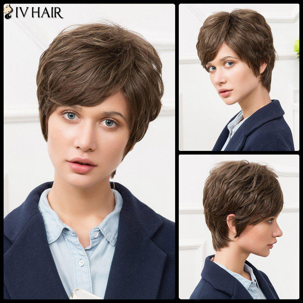 Siv Short Inclined Bang Towheaded Straight Human Hair Wig - COLORMIX