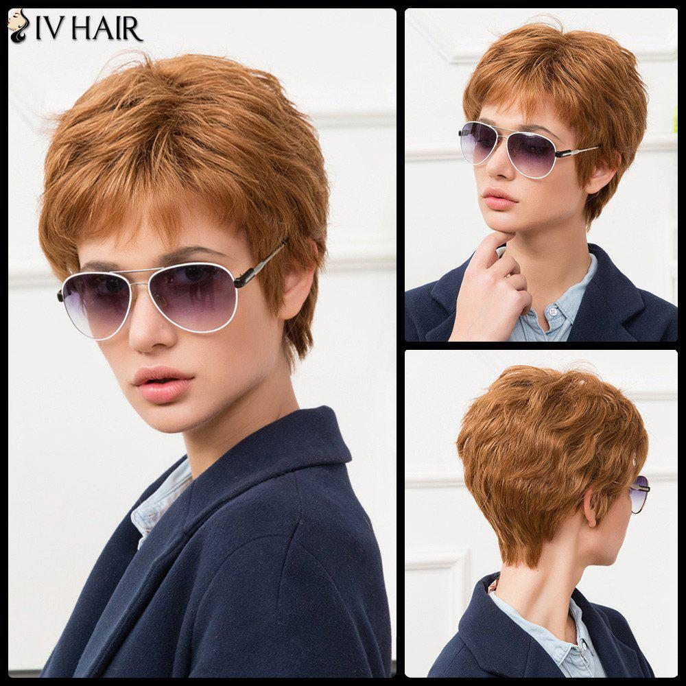 Siv Short Straight Pixie Cut Side Bang Human Hair WigHair<br><br><br>Color: AUBURN BROWN #30