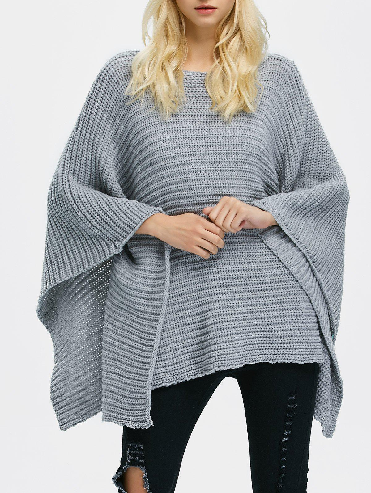 Chunky Knit Oversized Sweater - GRAY ONE SIZE
