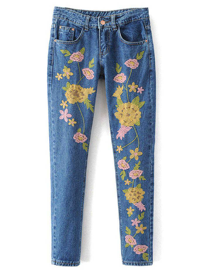 Floral Embroidered Denim Pants - DENIM BLUE L