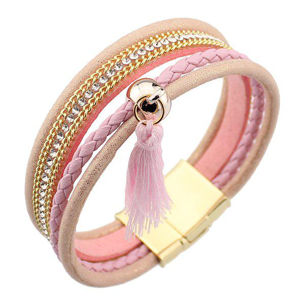 Rhinestoned Tassel Faux Leather Bracelet stylish dragon shaped alloy iron windproof gas lighter golden