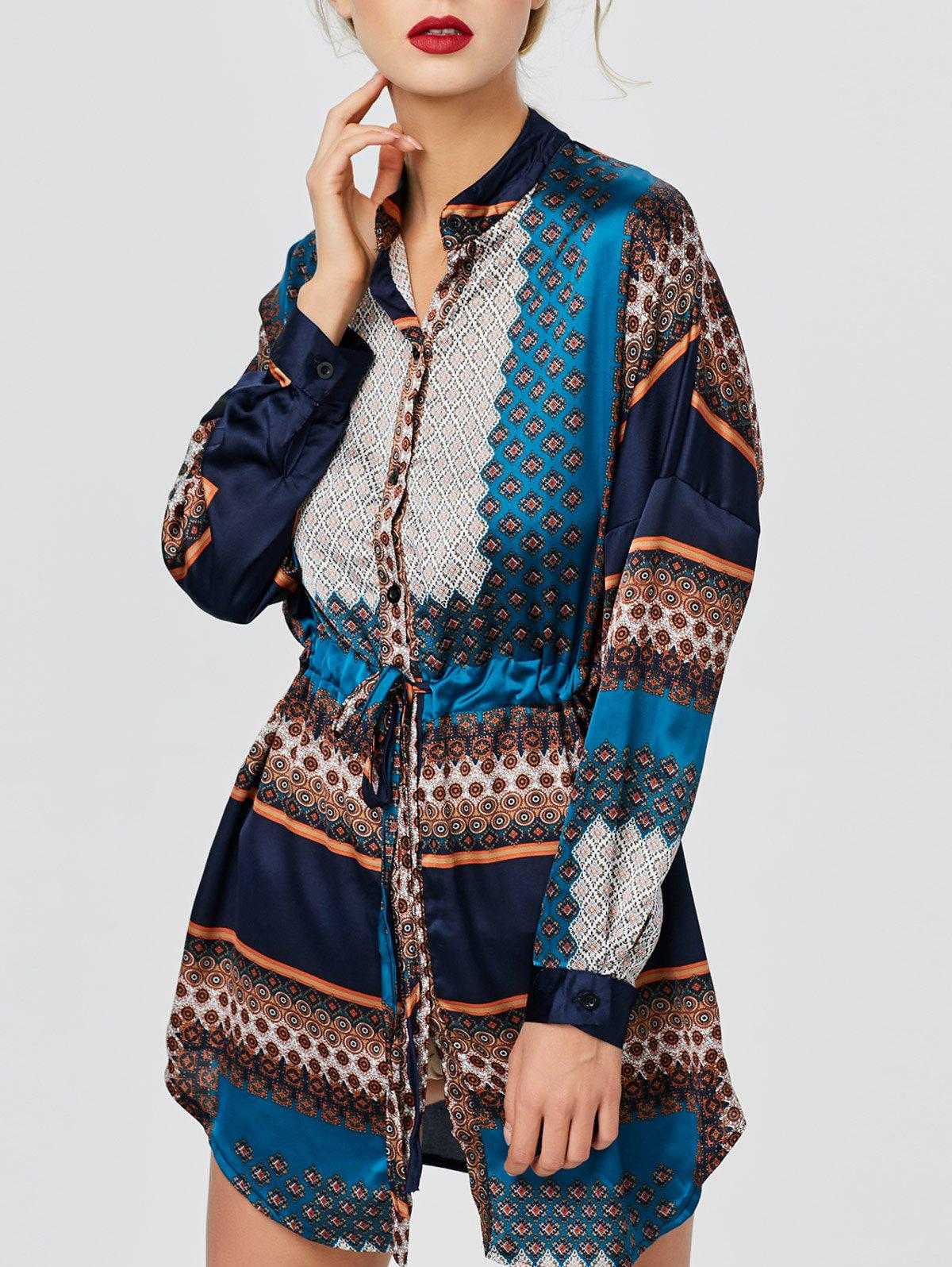 Drawstring Pattern Long Blouse - multicolor L