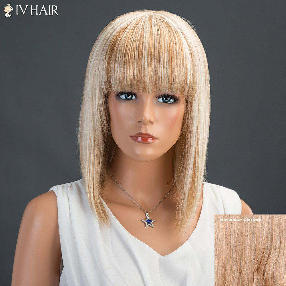 Siv Neat Bang Medium Straight Human Hair Wig - BROWN/BLONDE