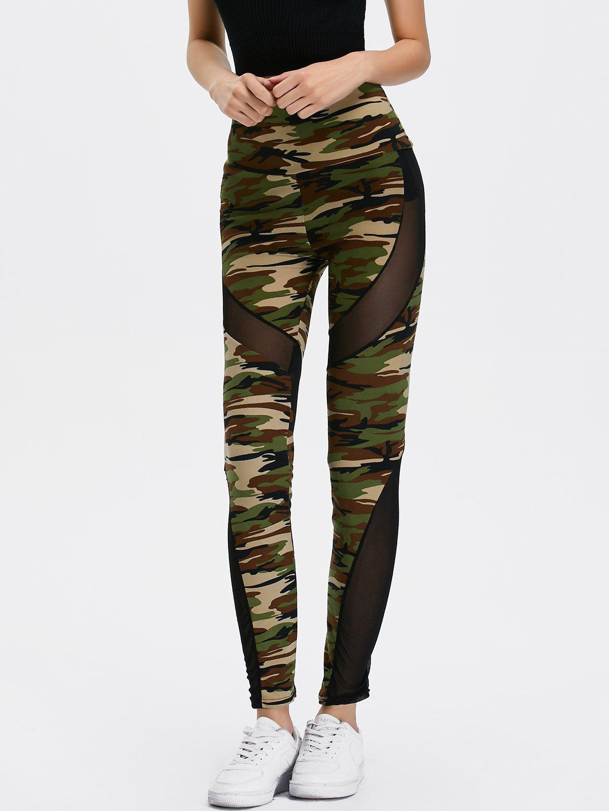 Mesh Insert Camo High Waist Leggings side panel mesh insert camo leggings