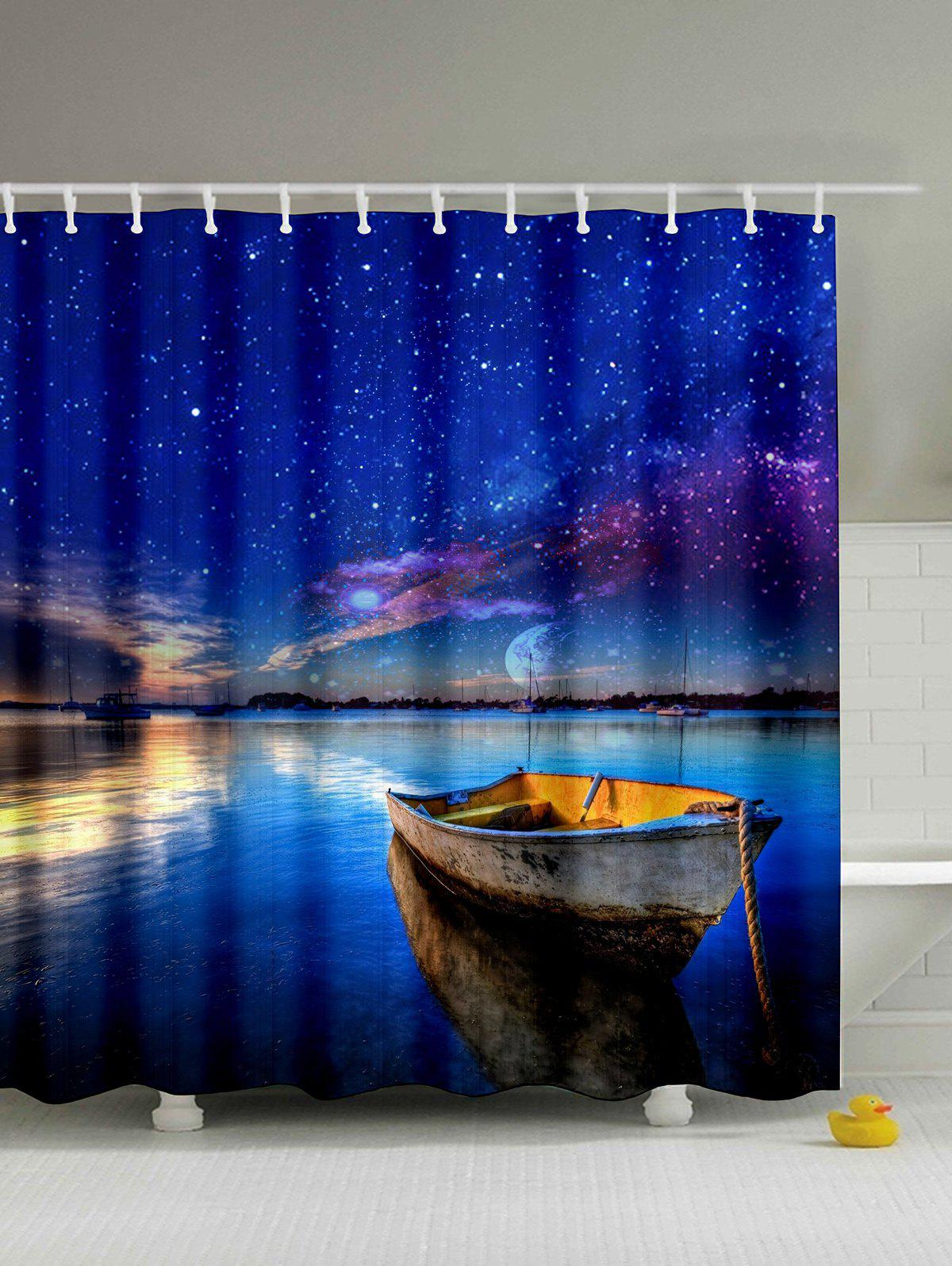 Natural Landscape Print Polyester Shower Curtain - DEEP BLUE