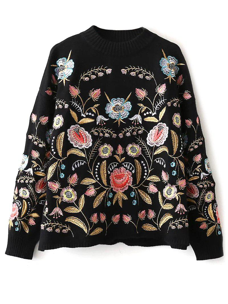 Mock Neck Floral Embroidered Sweater mock neck floral embroidered sweater
