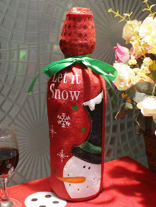 Christmas Party Table Decor Snowman Pattern Wine Bottle Cover Bag - RED