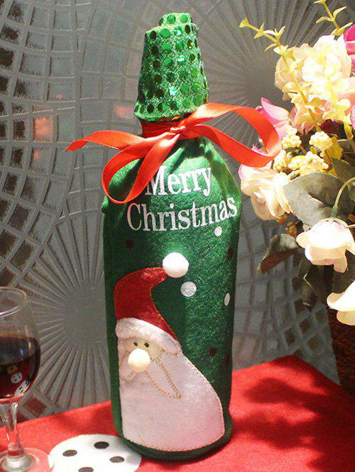 Christmas Party Table Decor Santa Claus Wine Bottle Cover Bag - GREEN