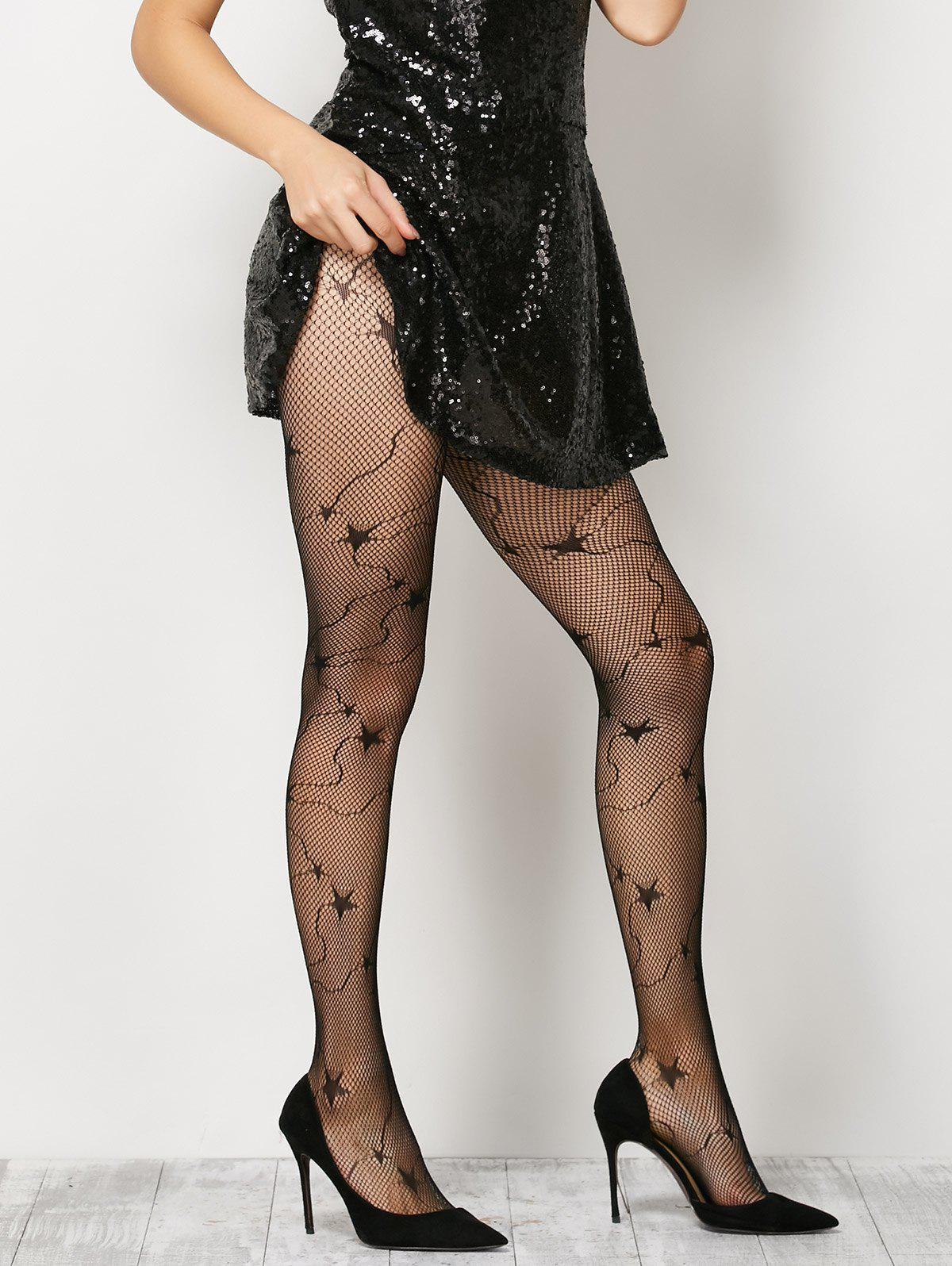 Star Pattern Fishnet Pantyhose - BLACK ONE SIZE