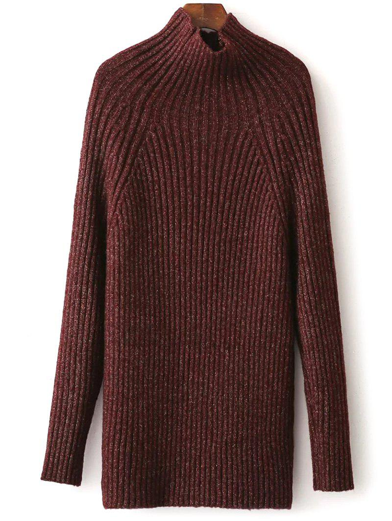 2017 Raglan Sleeve Tight Ribbed Sweater BURGUNDY ONE SIZE In ...