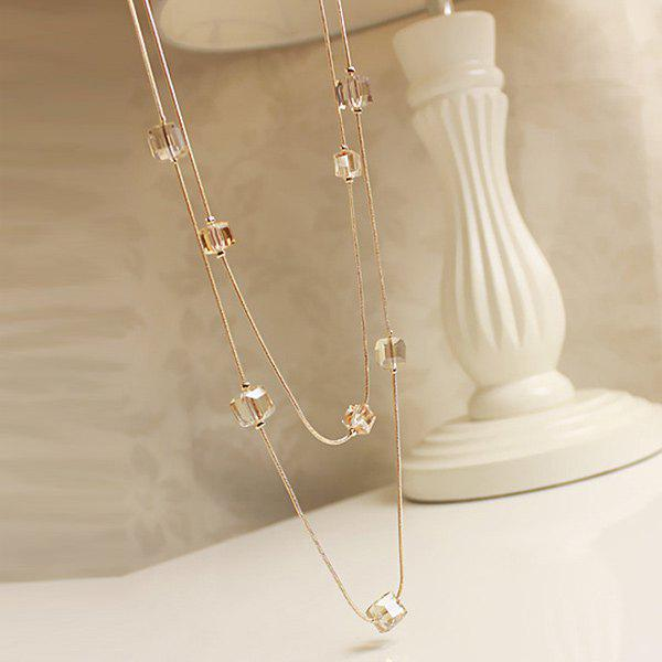 Faux Crystal Cubes Sweater Chain - GOLDEN