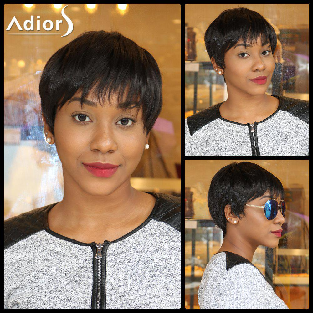 Dynamic Straight Capless Short Boy Cut Side Bang Synthetic Wig - BLACK