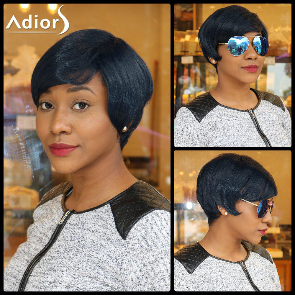 Spiffy Straight Inclined Bang Synthetic Short Pixie Cut Capless Wig - PURPLISH BLUE