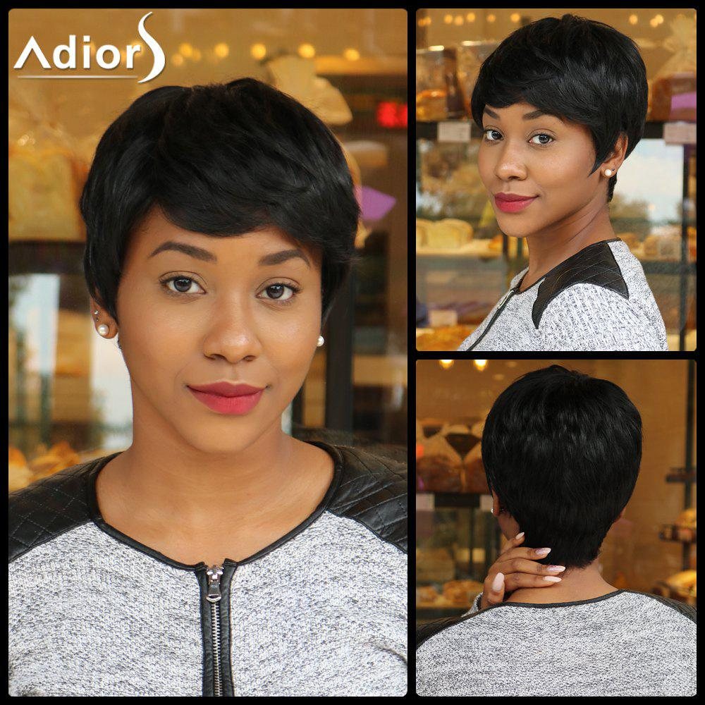 Ultrashort Boy Cut Synthetic Side Bang Capless Straight Wig