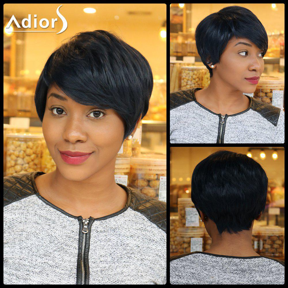 Straight Short Pixie Cut Capless Inclined Bang Heat Resistant Fiber Wig straight pixie cut capless short inclined bang heat resistant fiber wig