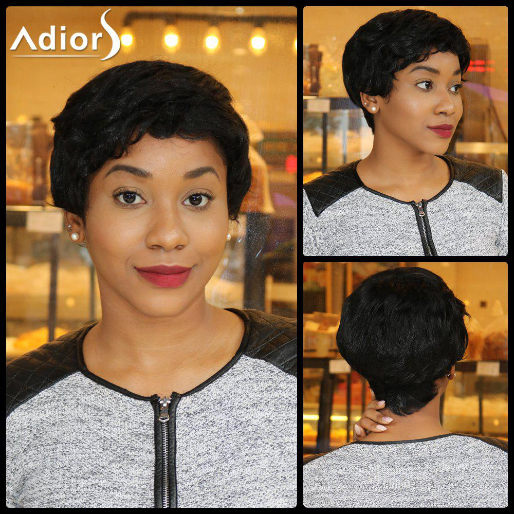Spiffy Short Pixie Cut Synthetic Capless Fluffy Curly Wig - BLACK