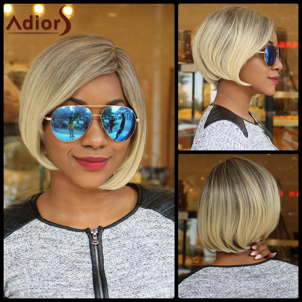 Bob Style Short Synthetic Fashion Blonde Mixed Straight Wig For Women - COLORMIX