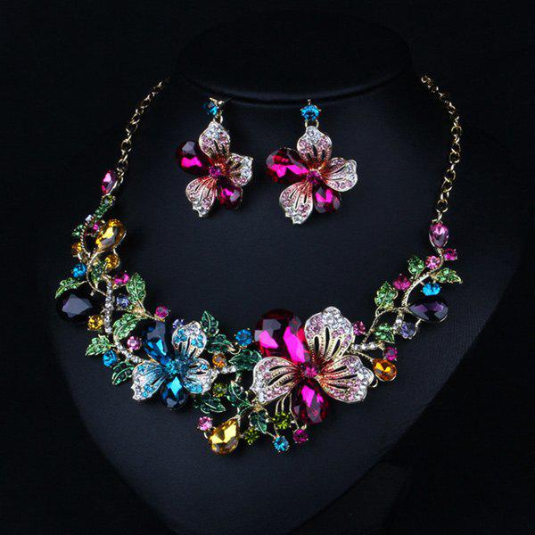 Faux Crystal Flower Necklace and Earrings - COLORFUL