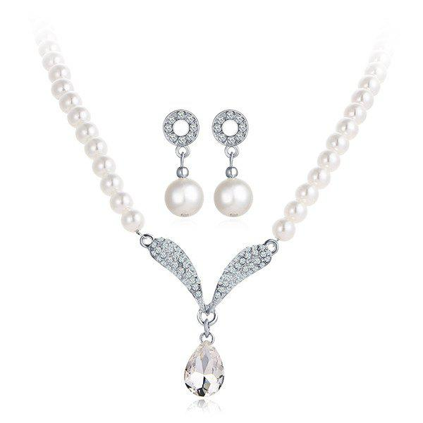 Artificial Pearl Rhinestone Beaded Necklace and Earrings rhinestone artificial pearl flower necklace