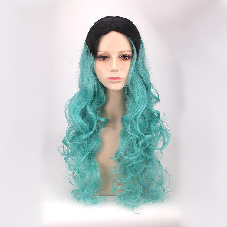 Buy Synthetic Long Middle Part Wavy Ombre Color Cosplay Anime Wig BLUE/BLACK
