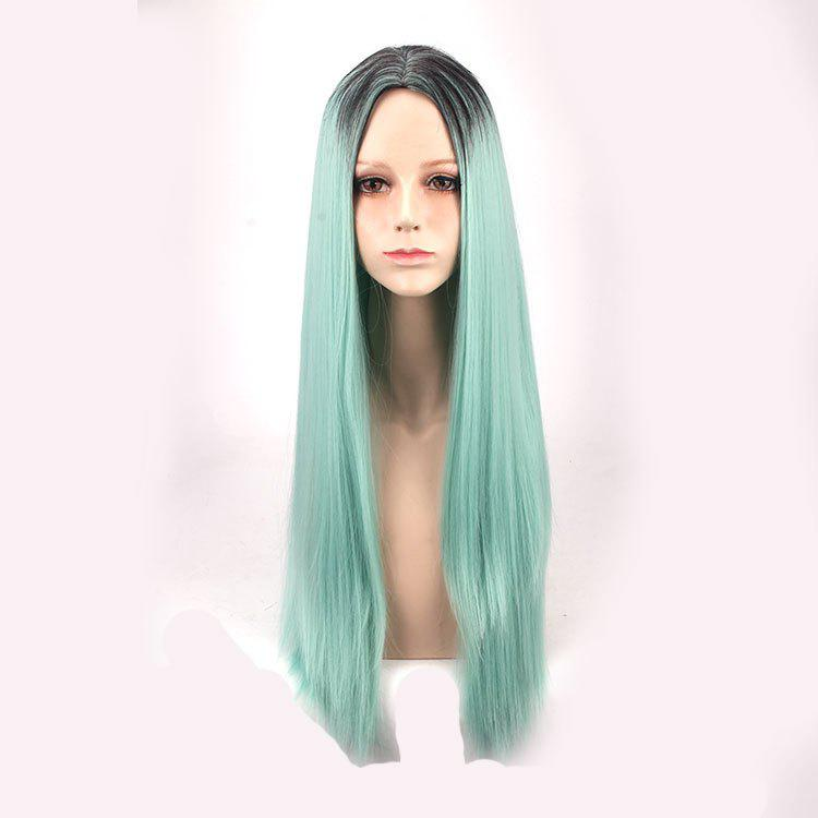 Buy Synthetic Long Middle Part Straight Colormix Cosplay Anime Wig BLUE/BLACK