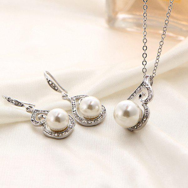 Faux Pearl Rhinestone Necklace and Earrings