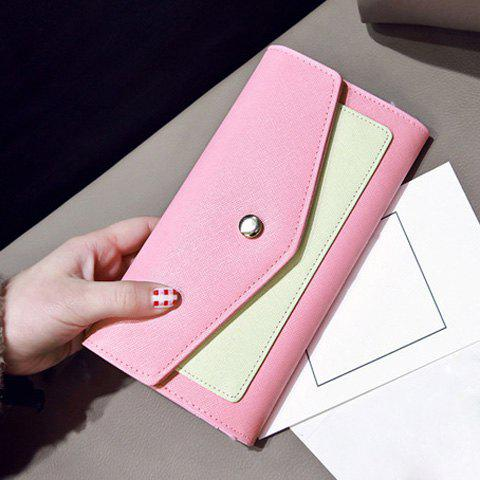 Flapped Color Block Clutch Wallet - PINK