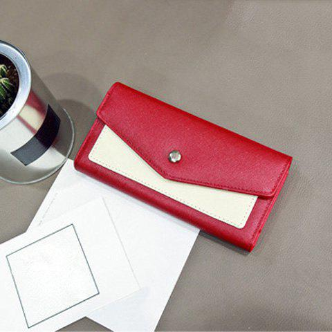 Flapped Color Block Clutch Wallet - RED