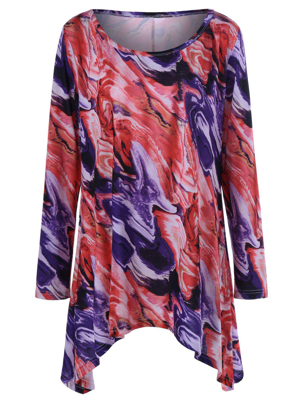 Plus Size Tie-Dye Long Sleeve Asymmetrical Longline T-Shirt - COLORMIX 2XL