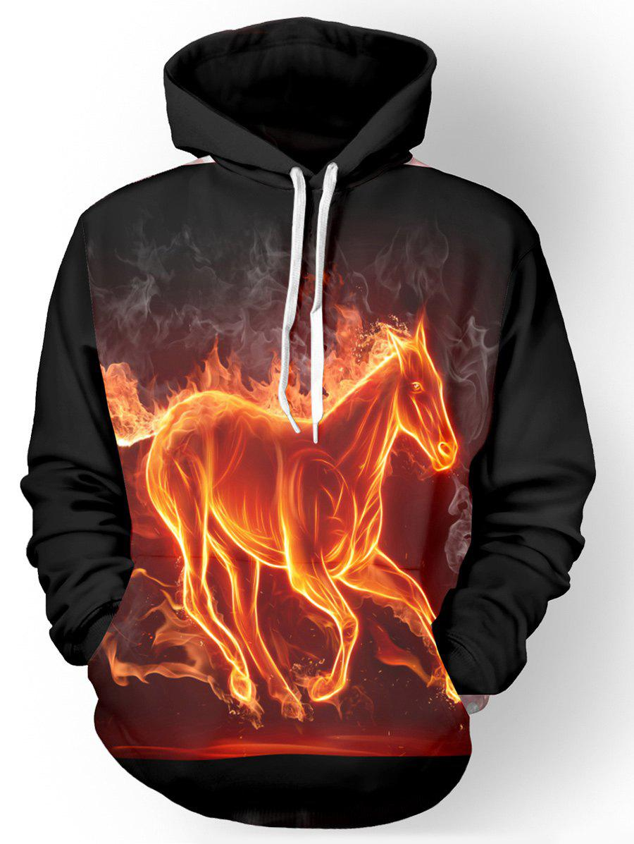 Hooded Long Sleeve 3D Flame Horse Print Hoodie - BLACK M