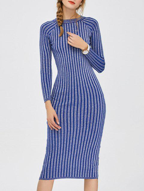 Stripe Long Sleeve Midi Bodycon Dress - MEDIUM BLUE ONE SIZE