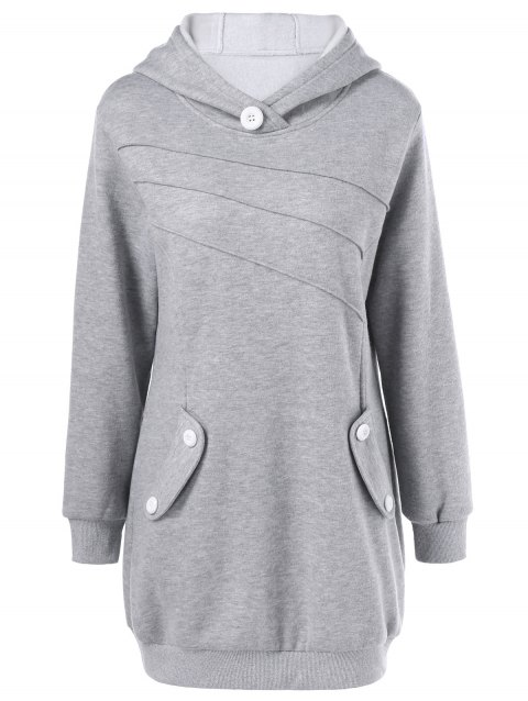 Button Decorated Pockets Longline Hoodie - LIGHT GRAY L