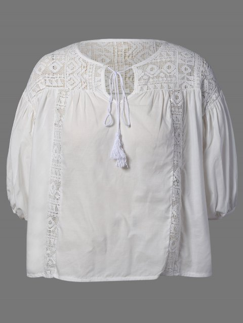 ab91eba9ad4 41% OFF  2019 Plus Size Lace Insert Puff Sleeves Blouse In OFF WHITE ...