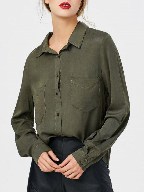 Bouton de poche avant Up High Low Shirt - Vert Armée L