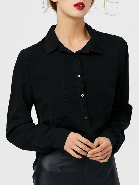 Bouton de poche avant Up High Low Shirt - Noir M