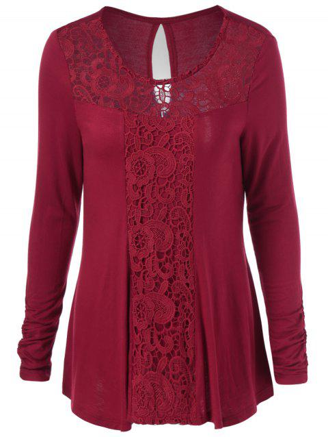 Long Sleeve Cut Out Lace Trim T-Shirt - BURGUNDY 2XL