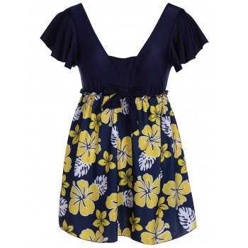 Refreshing Flower Print Square Collar Lace-Up Short Sleeve Swimsuit For Women