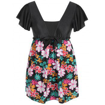 Refreshing Floral Print Square Collar Short Sleeve Swimsuit For Women