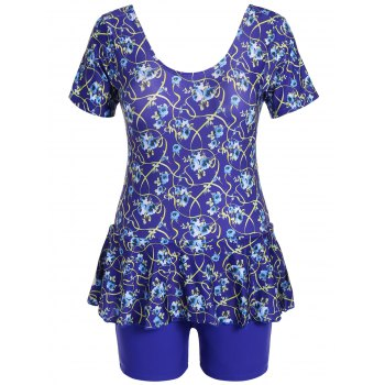 Graceful Scoop Neck Short Sleeve Floral Print Flounced Women's Swimsuit