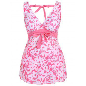 Fashionable Plunging Neck Bowknot Plus Size Women's Swimsuit